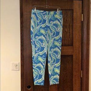J. McLaughlin Cropped Slim Blue/Green Print Pants